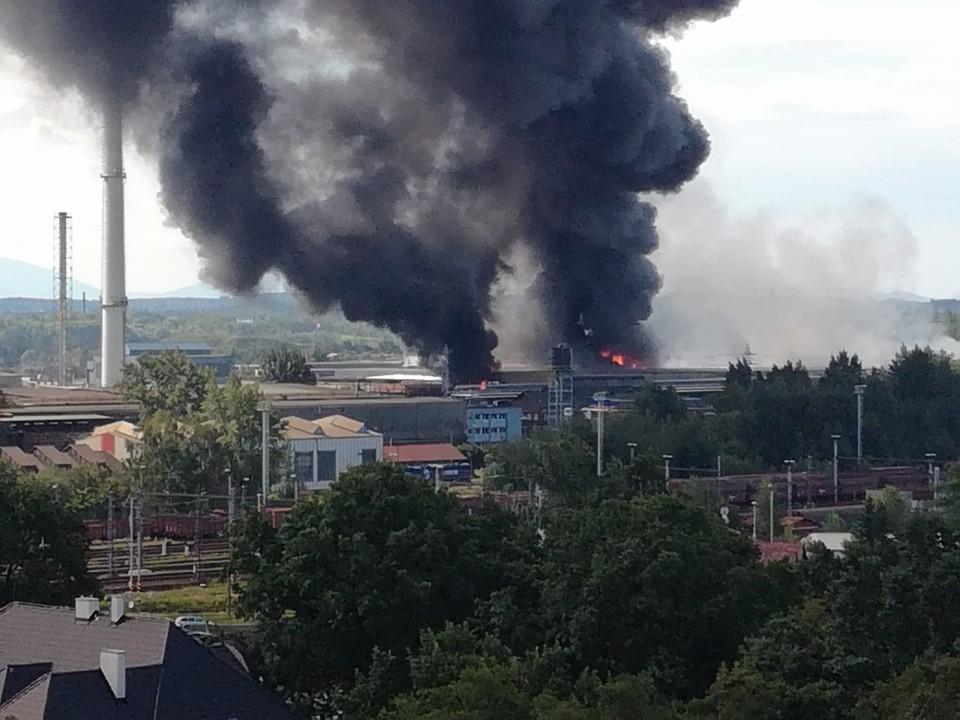 Požár v mořírně v areálu železáren a drátoven