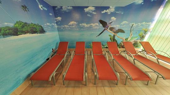 Aquacentrum - saunový svět - odpočívárna - Zobrazit virtuální prohlídku