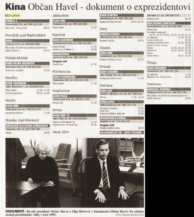 Kina Občan Havel - dokument o exprezidentovi - Zvětšit