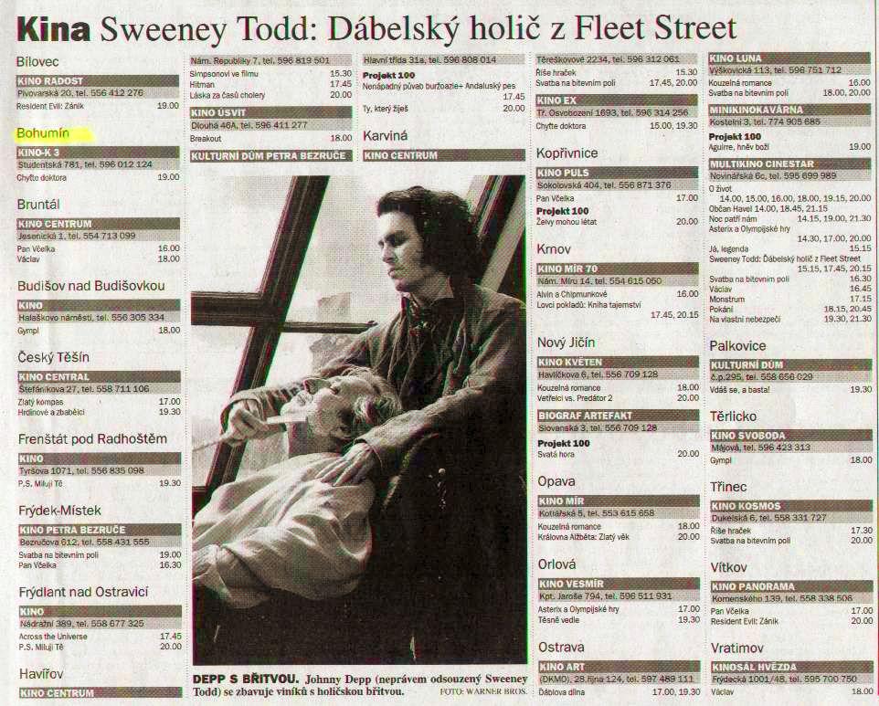 Kina Sweeney Todd: Ďábelský holič z Fleet Streetu - Zvětšit