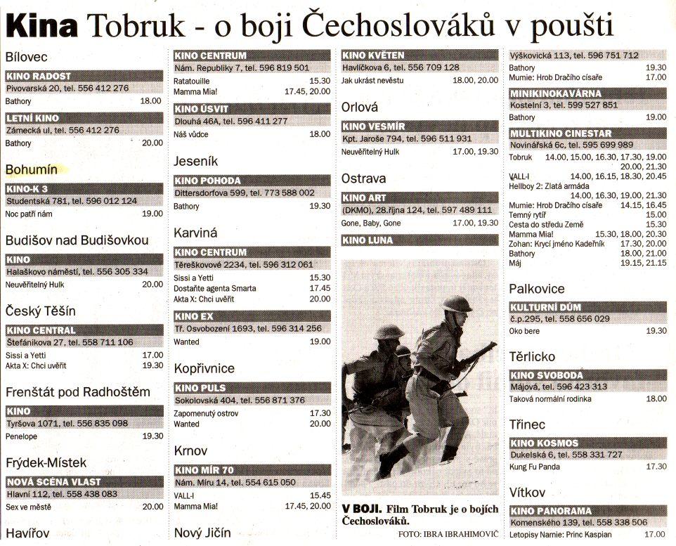 Kina Tobruk o boji Čechoslováků v poušti - Zvětšit