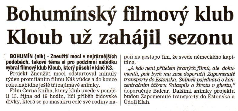 Bohumínský filmový klub Kloub už zahájil sezonu - Zvětšit