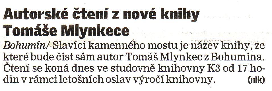 Autorské čtení z nové knihy Tomáše Mlynkece - Zvětšit