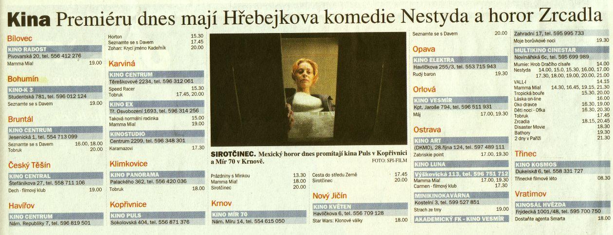 Kina Premiéru dnes mají Hřebejkova komedie Nestyda a horor Zrcadla - Zvětšit