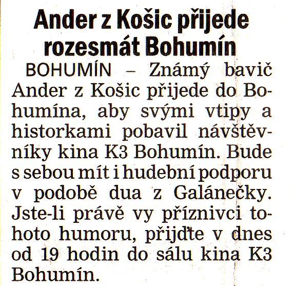Ander z Košic přijede rozesmát Bohumín - Zvětšit