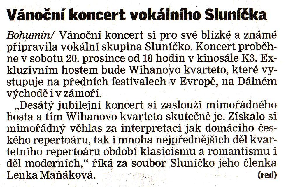 Vánoční koncert vokálního Sluníčka - Zvětšit