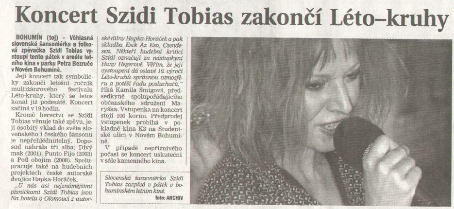 Koncert Szidi Tobias zakončí Léto-kruhy - Zvětšit