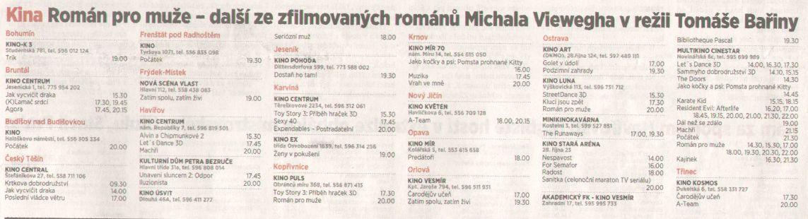 Kina Román pro muže - další ze zfilmovaných románů Michala Viewegha v režii Tomáše Bařiny - Zvětšit