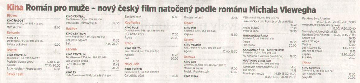 Kina Román pro muže - nový český film natočený podle románu Michala Viewegha - Zvětšit