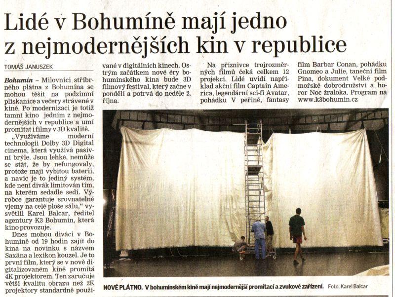 Lidé v Bohumíně mají jedno z nejmodernějších kin v republice - Zvětšit